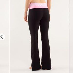lululemon athletica Pants - Lululemon Groove Pant Pink Stripe Black